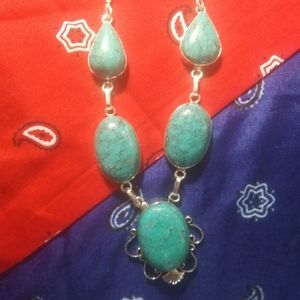 Huge Turquoise & Sterling Necklace 925